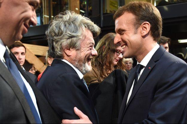 Jean-Louis Borloo et Emmanuel Macron, mardi à Tourcoing où le chef de l'Etat était en visite.