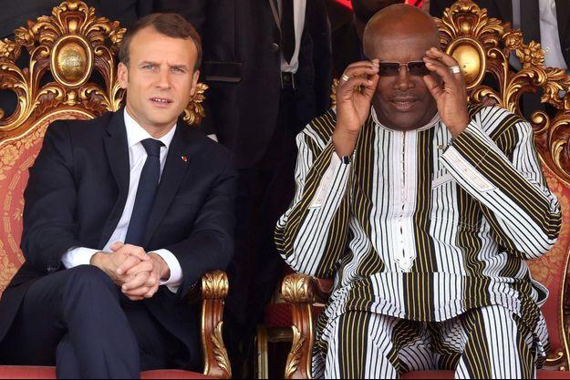 Emmanuel Macron et Roch Marc Christian Kabore à Zaktubi, mercredi.