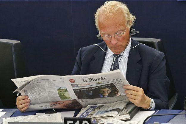 Brice Hortefeux au parlement européen en septembre 2014.