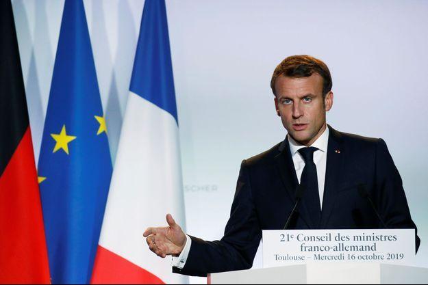 Emmanuel Macron lors du sommet franco-allemand à Toulouse.