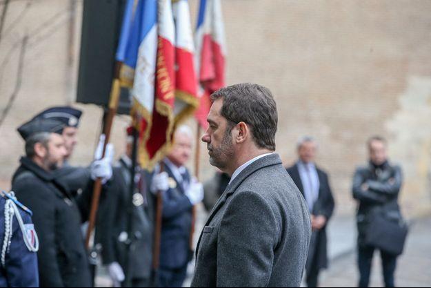 Christophe Castaner lors d'une cérémonie d'hommage aux victimes des attentats perpétrés à Toulouse et Montauban en 2012 par Mohamed Merah.