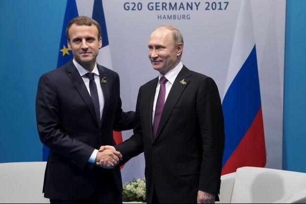 Emmanuel Macron et Vladimir Poutine lors du sommet du G20 le 8 juillet 2017.