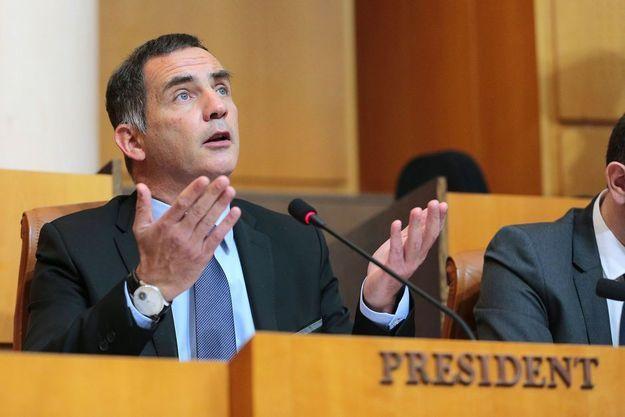 Gilles Simeoni lors d'une session de l'Assemblée, le 30 mars 2017 à Ajaccio.
