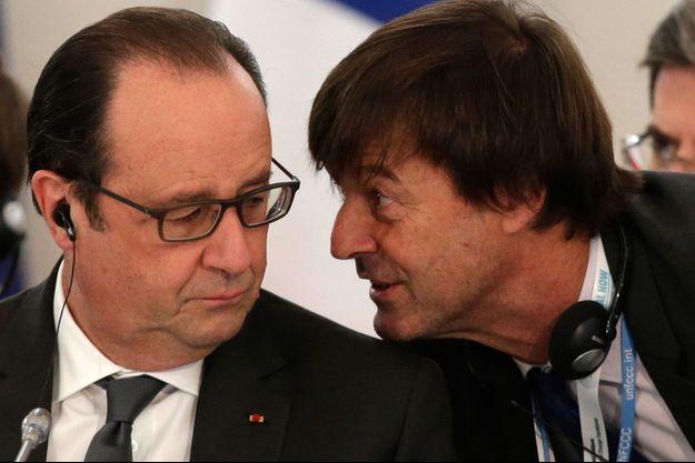 François Hollande et Nicolas Hulot, en décembre 2015 lors de la Cop21.