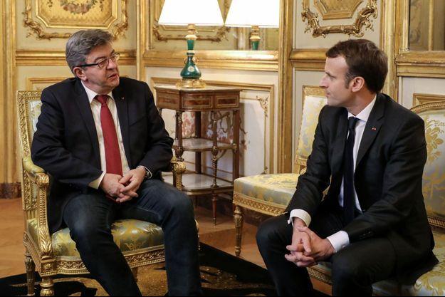 Jean-Luc Mélenchon et Emmanuel Macron à l'Elysée.