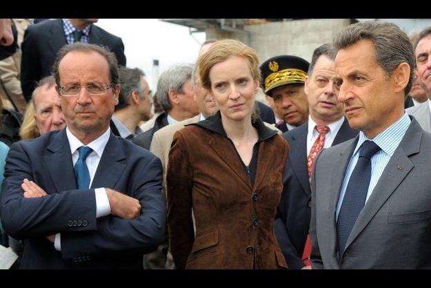 François Hollande et Nicolas Sarkozy le 28 avril à Tra-le-Bos, en Correz. Au milieu, Nathalie Kosciusko-Morizet.