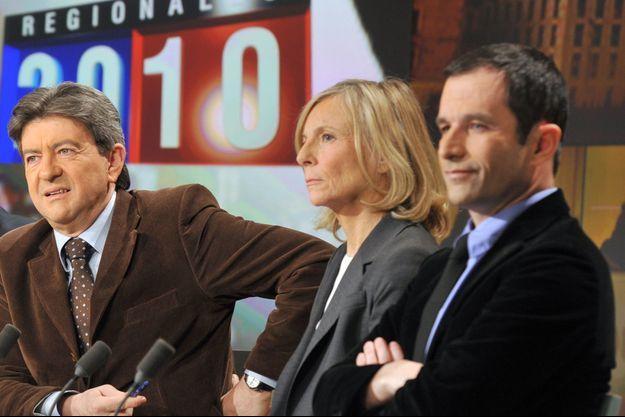 Jean-Luc Mélenchon (à gauche) et Benoît Hamon (à droite), sur un même plateau télévisé en 2010.