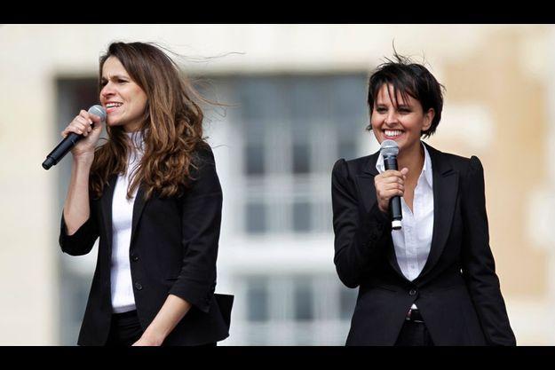 Aurélie Filippetti et Najat Vallaud-Belkacem, à Vincennes le 15 avril dernier.