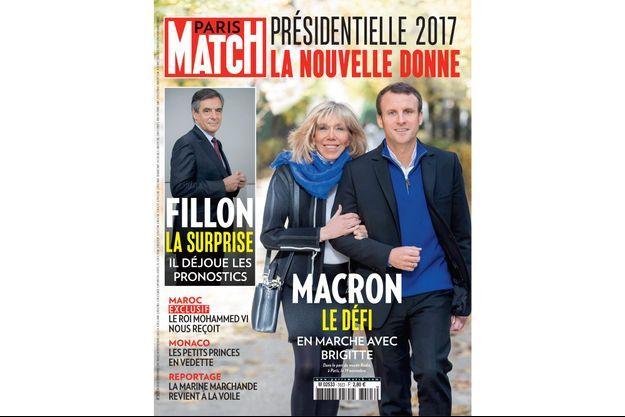 La couverture de Paris Match n°3523 avec Emmanuel et Brigitte Macron