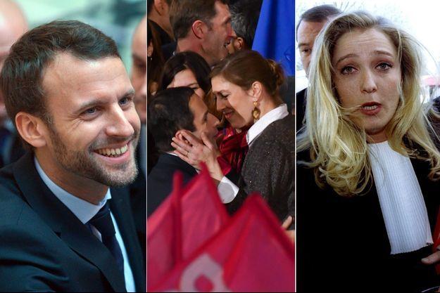 Emmanuel Macron barbu début 2016, Benoît Hamon et sa compagne lord d'un récent meeting et Marine Le Pen en 1995.