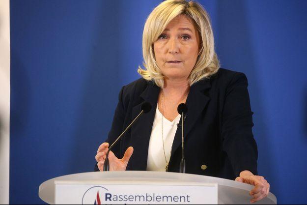 Marine Le Pen ici le 25 janvier lors de ses voeux à la presse au siège du parti à Nanterre.
