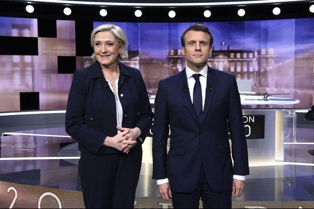 Marine Le Pen et Emmanuel Macron lors du débat de l'entre-deux tours de la présidentielle 2017.
