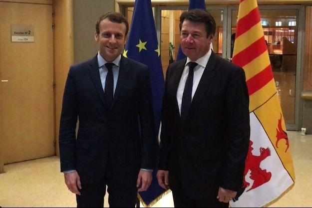 Emmanuel Macron et Christian Estrosi le 1er avril 2017.
