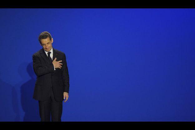 Nicolas Sarkozy, jeudi, lors d'un déplacement à Saint-Maurice, dans le Val-de-Marne.