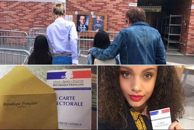 Johnny Hallyday (en haut) a voté en famille, Miss France 2017 (en bas à droite) pose avec sa carte d'électorale pour mobiliser à aller voter.
