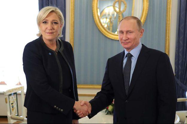 Marine Le Pen et Vladimir Poutine le 24 mars dernier.