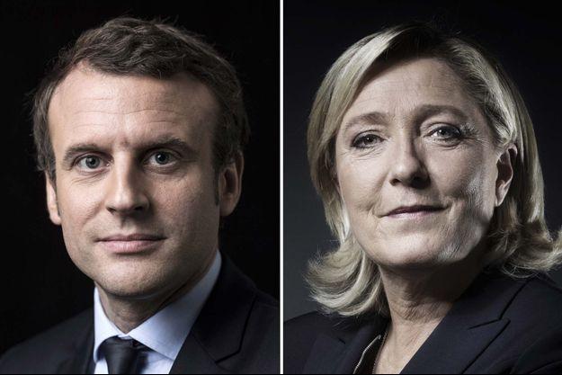 Emmanuel Macron et Marine Le Pen (montage d'illustration)