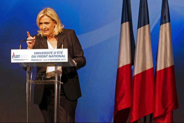 Marine Le Pen à l'université d'été du Front national, le 6 septembre.