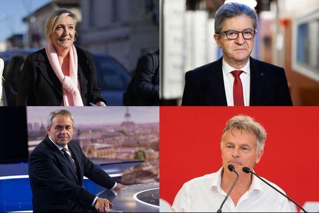 Marine Le Pen, Jean-Luc Mélenchon, Xavier Bertrand et Fabien Roussel.