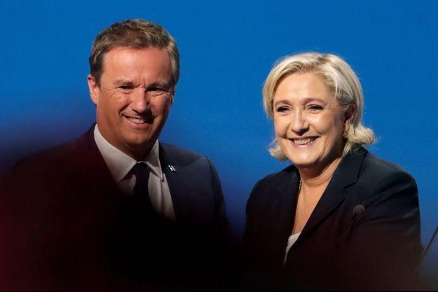 Nicolas Dupont-Aignan et Marine Le Pen lors de la présidentielle 2017.