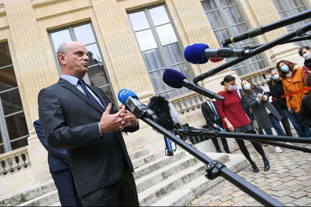 Jean-Michel Blanquer, ici samedi lors d'une conférence de presse au ministère de l'Education nationale.