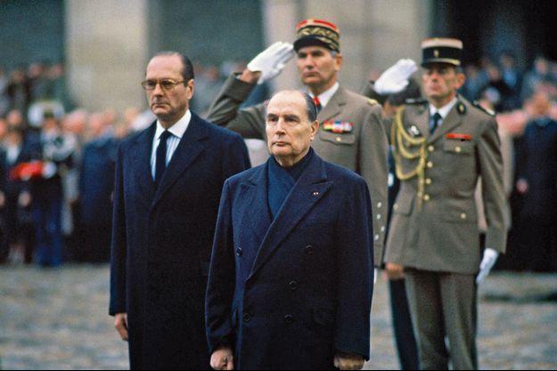Francois Mitterrand et Jacques Chirac, alors Premier Ministre aux obsèques de Georges Besse.