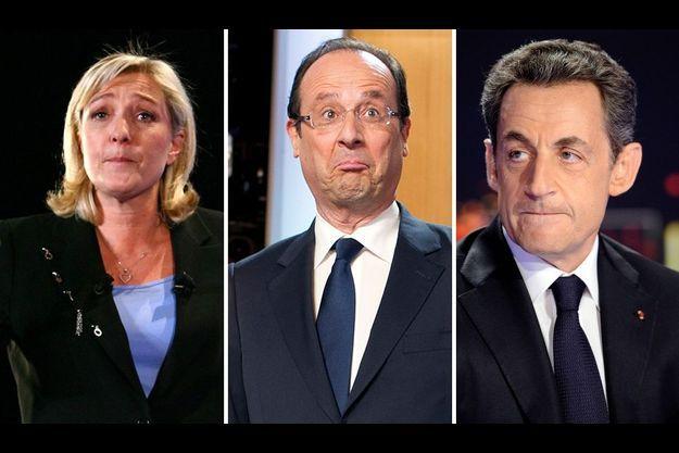 Marine Le Pen, François Hollande et Nicolas Sarkozy.
