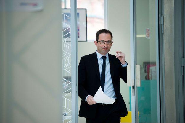 Benoît Hamon le 10 avril lors d'une conférence de presse à Paris.