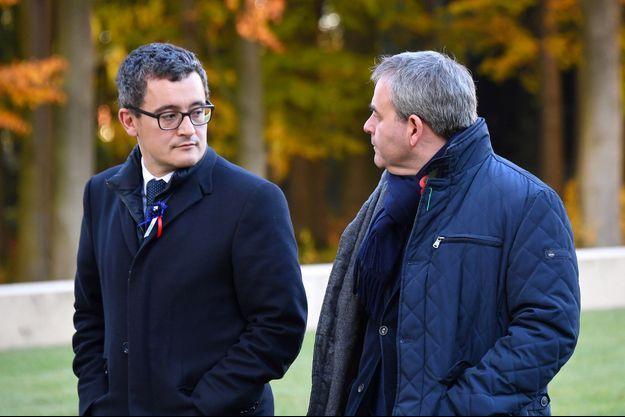 Gérald Darmanin et Xavier Bertrand, ici en 2018 à Thiepval lors des célébrations du centenaire de la fin de la Première guerre mondiale.