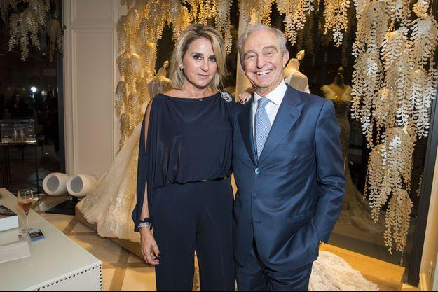 Susanna Gallardo avec son ancien mari, Alberto Palatchi Ribera, lors de l'inauguration d'une boutique Pronovias à Paris, le 17 novembre 2016.