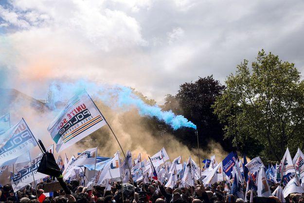Photo prise lors de la manifestation des policiers le 19 mai à Paris.