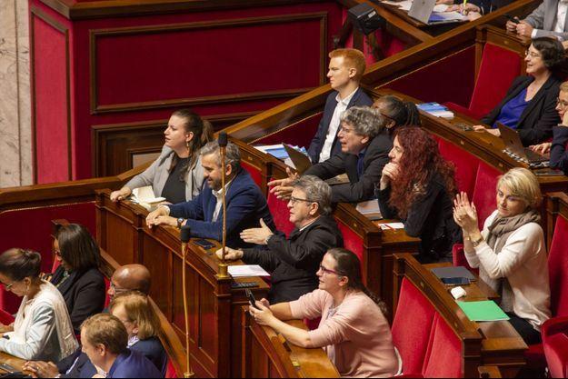 Jean-Luc Mélenchon et des députés Insoumis, à l'Assemblée le 17 février.