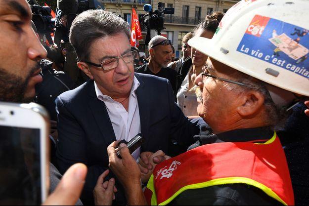 Jean-Luc Mélenchon lors de la manifestation de la CGT à Marseille, mardi.