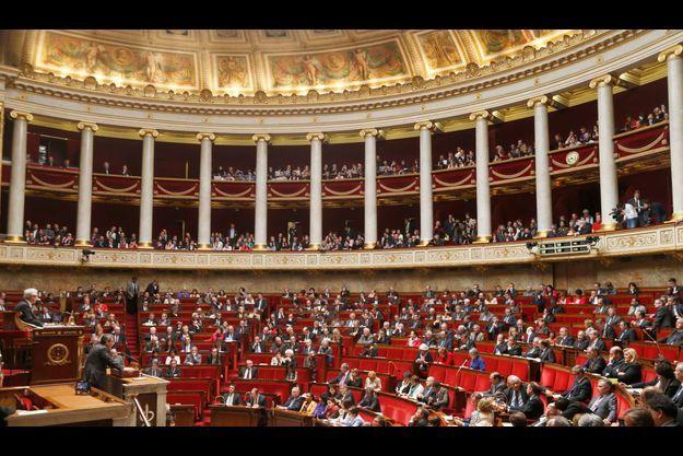 """L'hémicyle de l'Assemblée nationale lors du vote solennel sur le """"mariage pour tous""""."""