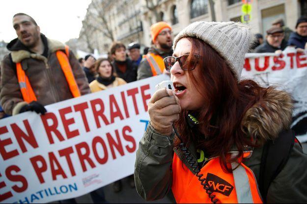 Manifestation contre la réforme des retraites samedi à Paris.