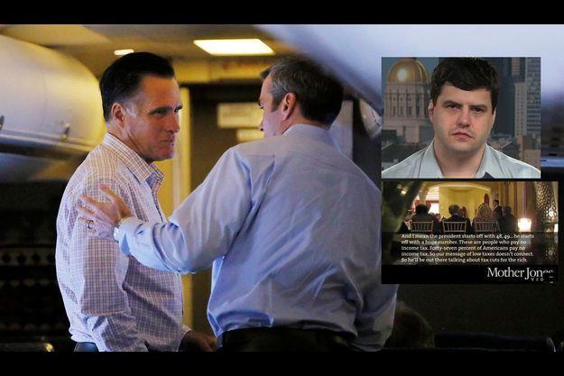 Mitt Romney et un collaborateur le 29 août. En médaillon, le petit-fils de Jimmy Carter qui a découvert sur YouTube la vidéo de Mitt Romney.