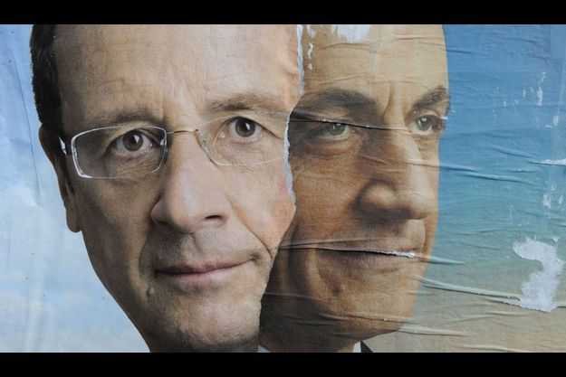 Affiches de campagnes de François Hollande et Nicolas Sarkozy.
