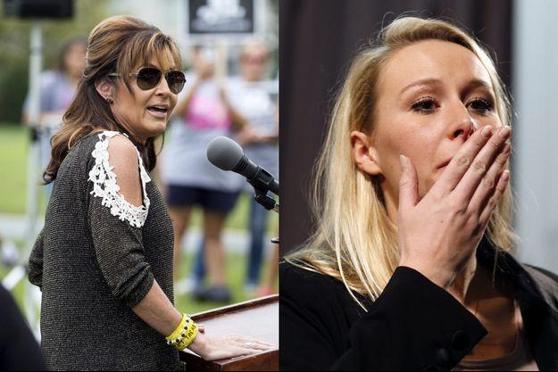 Sarah Palin en septembre dernier et Marion Maréchal-Le Pen dimanche soir.