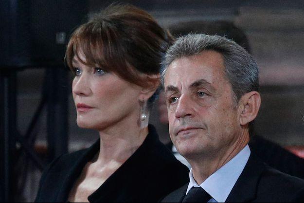 Carla Bruni et Nicolas Sarkozy, lundi à Saint-Sulpice pour la messe en l'honneur de Jacques Chirac.