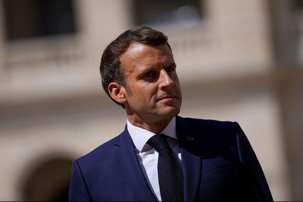 Emmanuel Macron aux Invalides, mercredi.