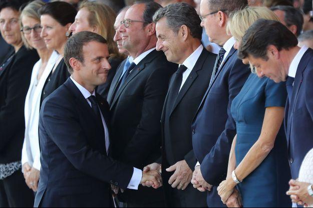 Emmanuel Macron et Nicolas Sarkozy à Nice le 14 juillet dernier.