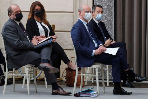 Eric Dupont-Moretti, Marlène Schiappa, Jean-Michel Blanquer, Gérald Darmanin, mercredi lors de l'allocution de Jean Castex.