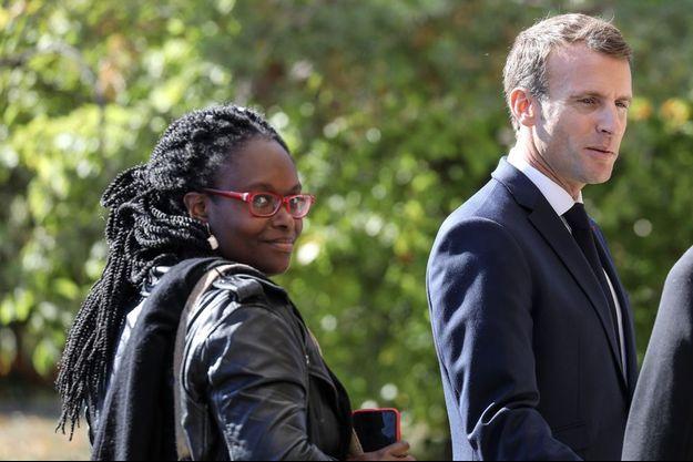 Sibeth Ndiaye aux côtés d'Emmanuel Macron le 4 octobre 2018.