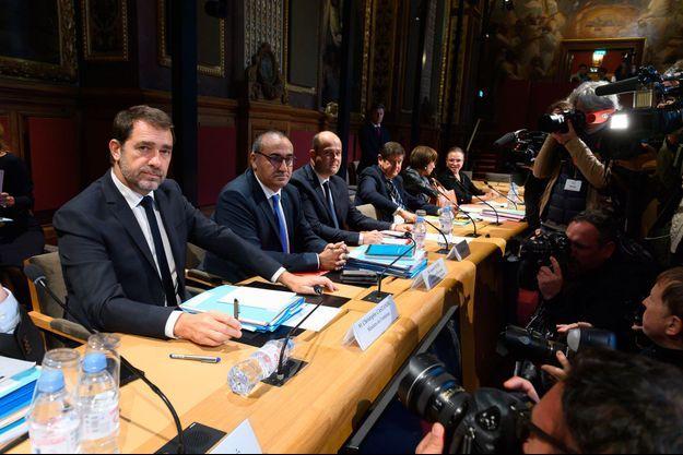 Christophe Castaner et Laurent Nunez au Sénat, jeudi.