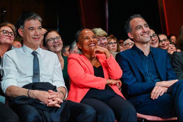 Olivier Faure, Christiane Taubira et Raphaël Glucksmann lors d'un meeting à Rouen le 15 mai.