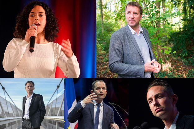 Manon Aubry (tête de liste LFI), Yannick Jadot (EELV), Olivier Faure (dirigeant du PS, qui n'a pas encore désigné sa tête de liste), Benoît Hamon (Génération.s) et Ian Brossat (PC).