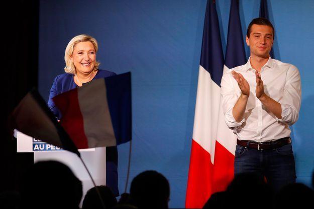 Marine Le Pen et Jordan Bardella mardi soir dans l'Yonne.