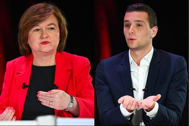 Nathalie Loiseau, tête de liste LREM, et Jordan Bardella, tête de liste RN.