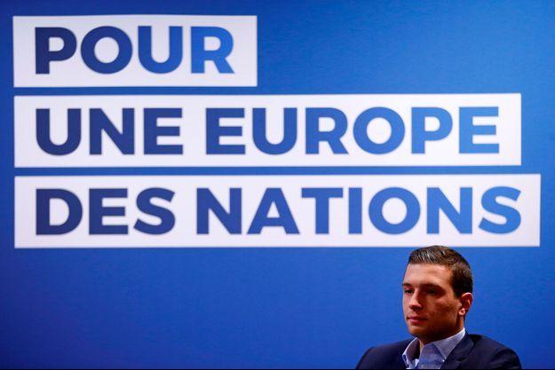 La tête de liste du Rassemblement nationale pour les européennes, Jordan Bardella, le 15 avril à Strasbourg.