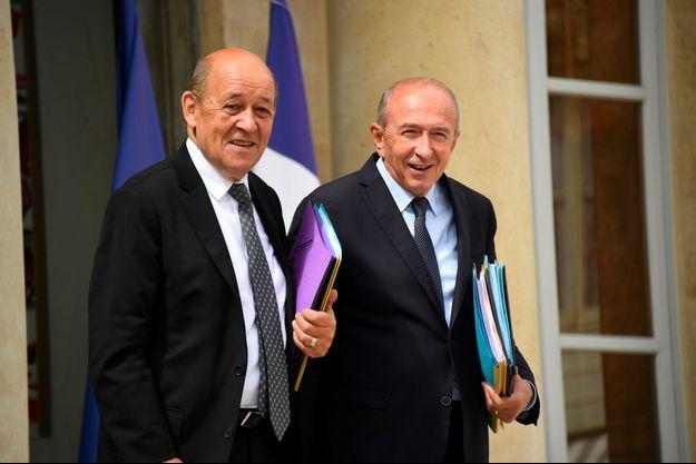 Jean-Yves Le Drian et Gérard Collomb lorsqu'ils étaient encore collègues au gouvernement, en juillet 2018.